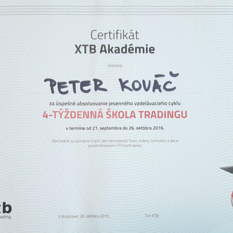 certifikát 4-týždňová škola obchodovania na burze XTB 2016