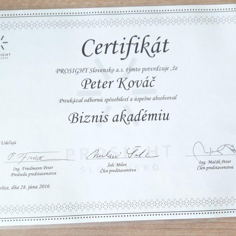 certifikát o absolvovaní obchodnej akadémie 2016