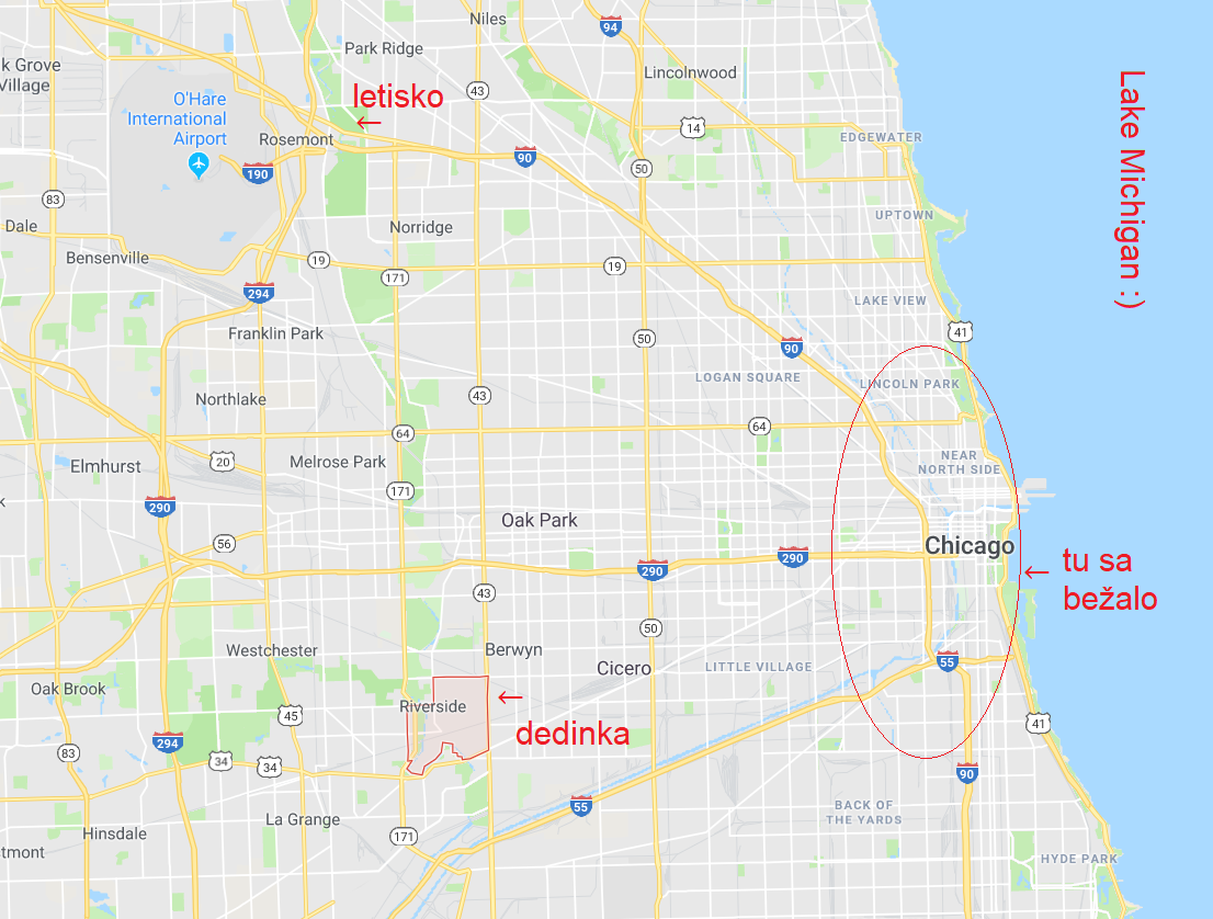 mapa letisko, Riverside a Chicago