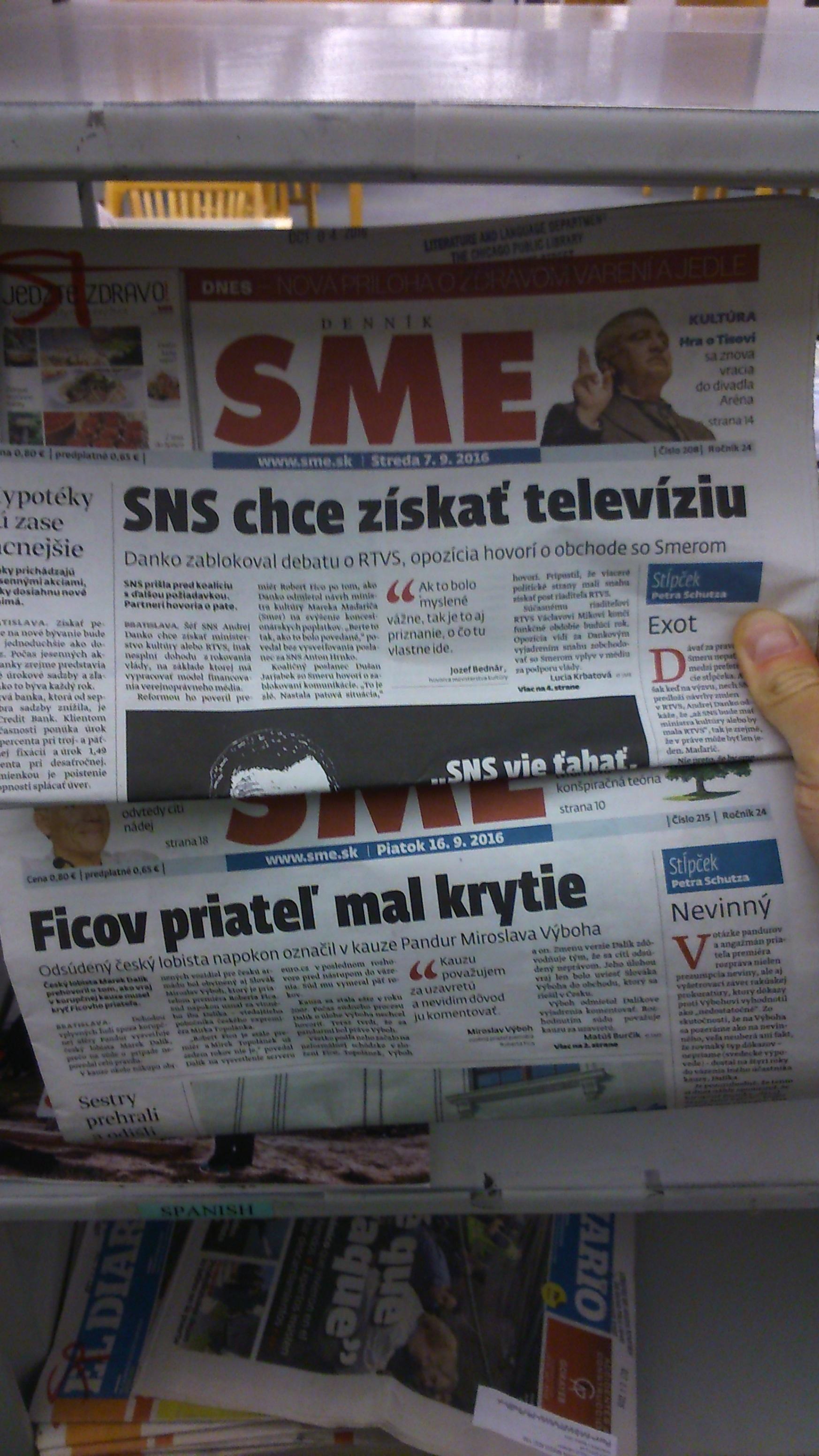 v Chicagu mali dennú tlač zo Slovenska, snáď ju nečítajú