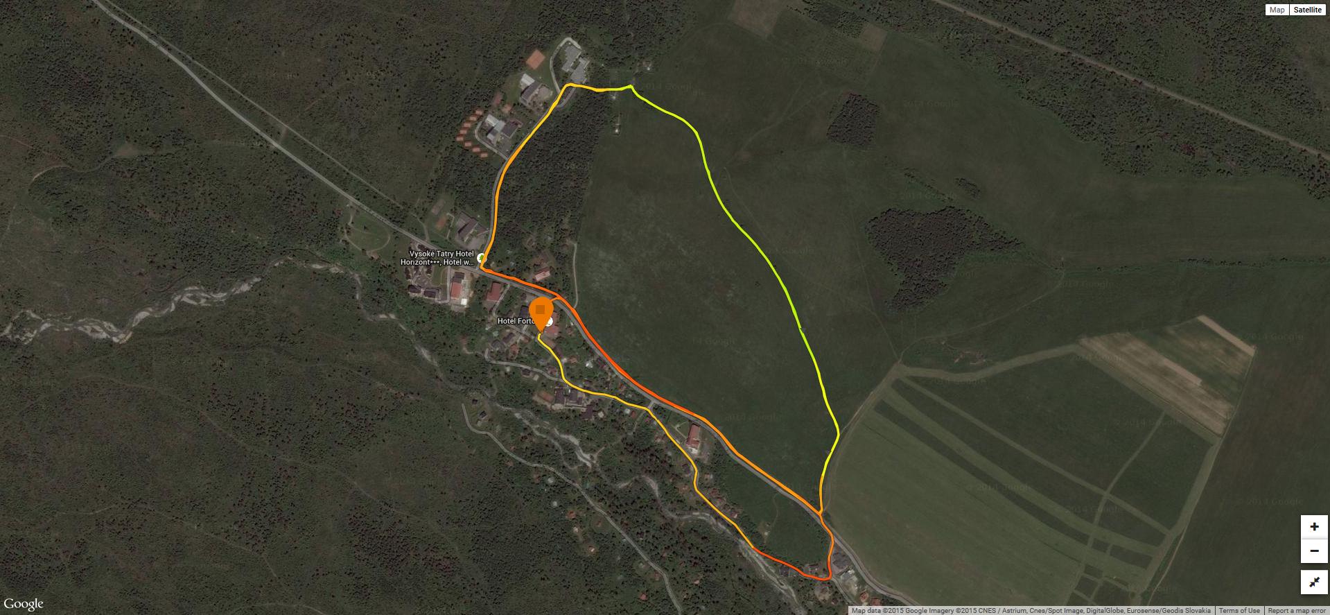 mapa pretekov z GPS záznamu